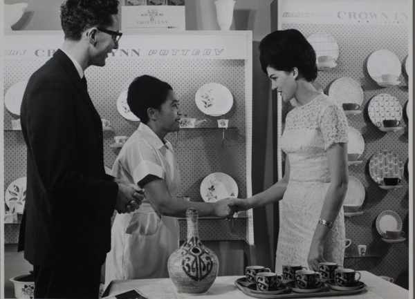 Helen Iggo being presented with ceramic gourd, 1964