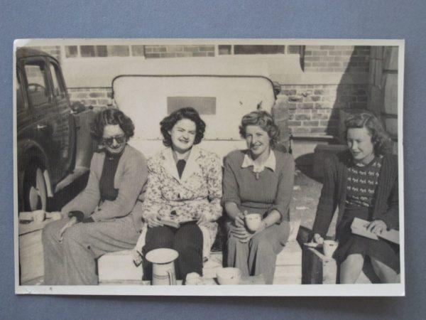 Eating lunch outside Crown Lynn c.1950s L-R Joan Lillicrap, Joan Davis, Louie Reeves, unknown