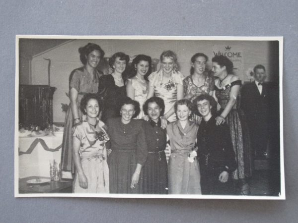 Crown Lynn Christmas Function c.1950s, possibly at the Hollywood, Avondale Joan is standing side-on to the camera