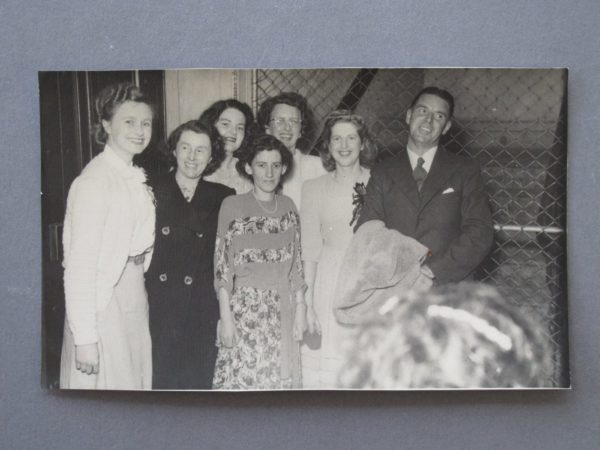 Members of the Crown Lynn Deco Dept c.1948 L-R Unknown, Unknown, Joan Davis, Unknown, Joan Lillicrap, Loui Reeves (nee Pilgram), Phil Reeves